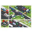 isometric urban traffic composition vector image