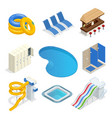 isometric water park attractions icon set vector image vector image