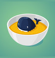 large portion blue whale in the plate of food vector image