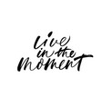 live in the moment phrase calligraphy vector image vector image