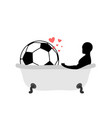 lover soccer man and football ball in bath joint vector image vector image