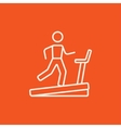 Man running on treadmill line icon vector image vector image