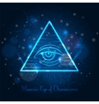 Masonic eye on blue shining background vector image vector image