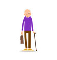old man elderly man in pullover holds a briefcase vector image vector image
