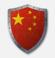 old shield with flag of china vector image