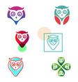 owl pin navigator creative logo template vector image