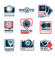 photo studio or photographer logotypes shoot vector image vector image