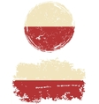Polish round and square grunge flags vector image vector image