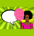 pop art style woman speech bubble advertise vector image vector image
