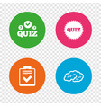 quiz icons checklist and human brain symbols vector image vector image