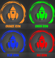 Rocket icon Fashionable modern style In the orange vector image