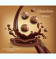 round chocolates with splash realistic vector image