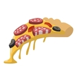 Salami pizza slice vector image