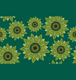 seamless pattern graphic sunflower green vector image