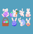 set cute easter egg and bunny character vector image