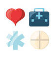 set heart with emblem and drug with briefcase vector image vector image