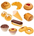 Set of pastry isolated on white vector image