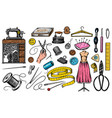 set sewing tools and elements or materials vector image vector image