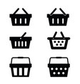 shopping basket set in black color vector image vector image