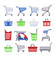 shopping carts or shop supermarket trolley baskets vector image