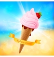Summer ice-cream on shining background vector image