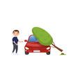 tree falling on vehicle man feeling shocked car vector image