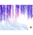 wisteria flowers and blue sky with white clouds vector image