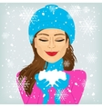 woman holding snow vector image vector image