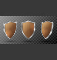 wooden shield with metal frame realistic trophy vector image