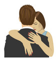 young woman hugs the man with sad expression vector image vector image