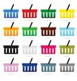 shopping basket set in color design vector image