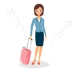 Woman in a business suit with luggage Business vector image