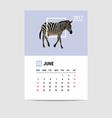 2017 june calendar zebra polygon vector image vector image