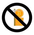 ban mine bitcoin symbol vector image vector image