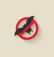 bat silhouette animal pest icon stop sign vector image vector image