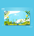beautiful landscape with flowers and leaves floral vector image vector image