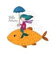 Beautiful little mermaid under an umbrella vector image vector image