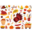 big set thanksgiving symbols turkey pie vector image vector image