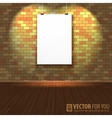 Brick wall with a blank page and lighting vector image