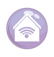 button with house building and wifi signal vector image