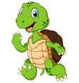 Cartoon cute turtle waving hand vector image