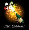 champagne bottle explosion celebration poster vector image vector image