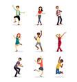 cheerful dancing people set joyful girls and boys vector image
