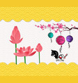 chinese new year background with blossom and vector image
