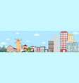 cityscape view with buildings and mountains nature vector image vector image