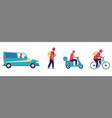 delivery courier man driving car scooter and vector image vector image