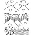 doodle landscape with mountains and trees sky vector image vector image