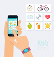 Fitness app concept on touchscreen Mobile phone vector image vector image