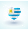 Flag of Uruguay in shape diamond glass heart vector image vector image