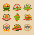 flat style bio organic eco healthy food label vector image vector image